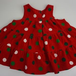 Rare Editions Girls Size 12M Red Polka Dots Sleeve